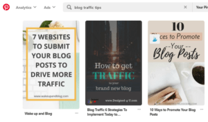 Pinterest search for blog traffic tips