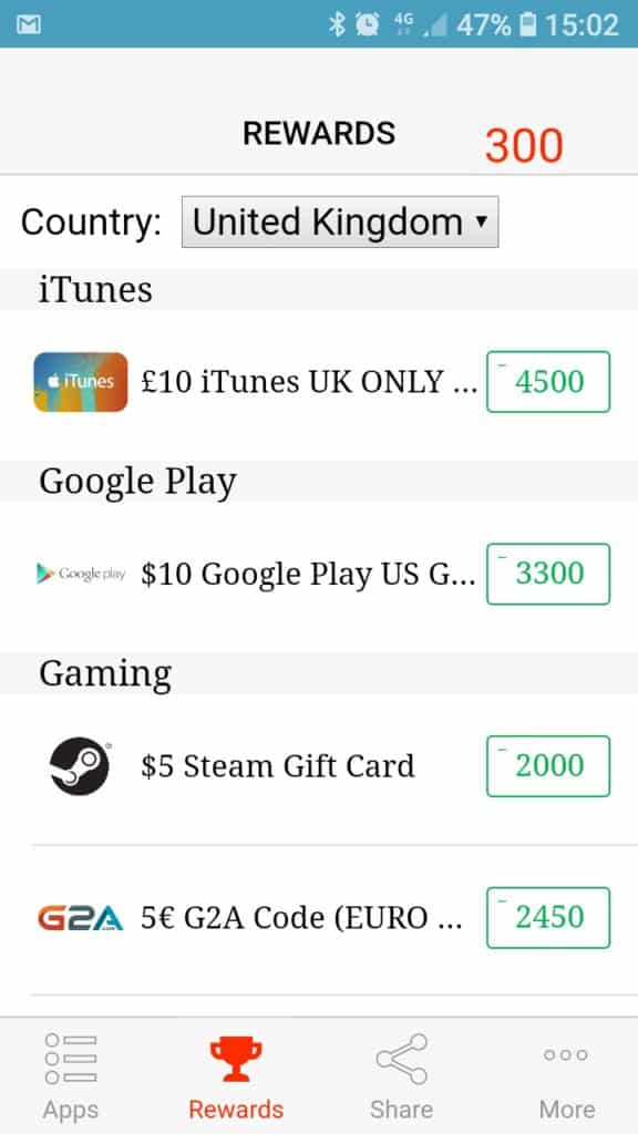 rewards in cash for apps