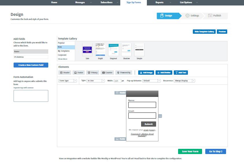 aweber sign up form design for landing page