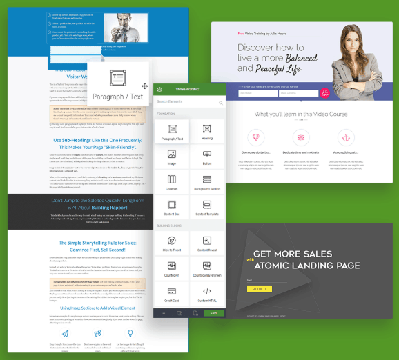 landing pages from Thrive architect