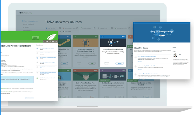 details of thrive university courses available on thrive themes website