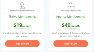 thrive membership monthly, yearly and agency pricing options