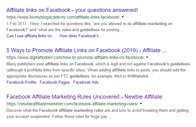 facebook affiliate marketing rules google ranking