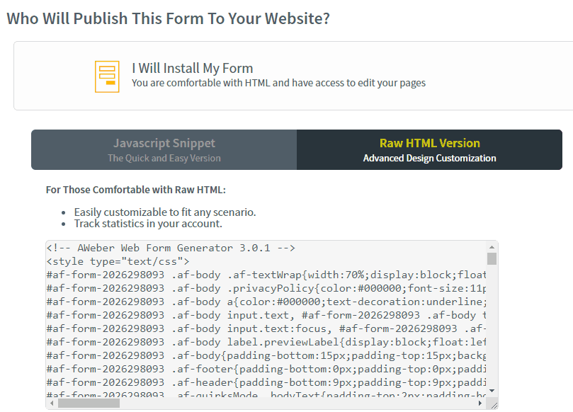 coding for optin form in AWeber