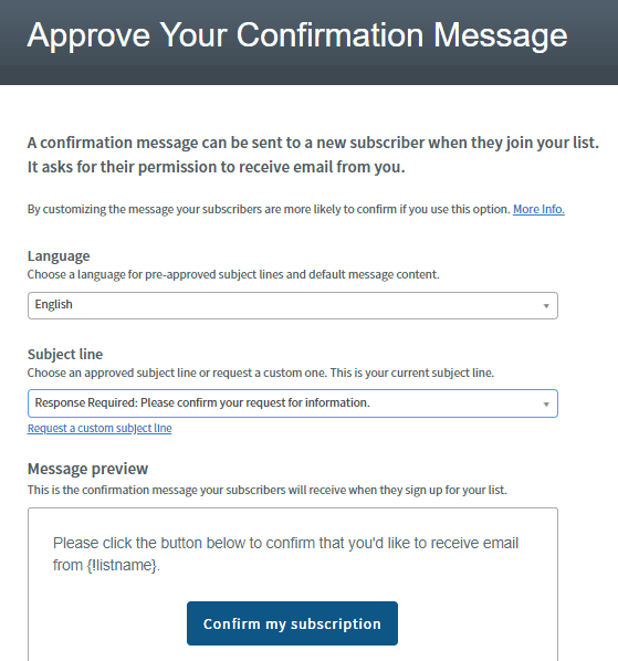 confirmation message for your email marketing list