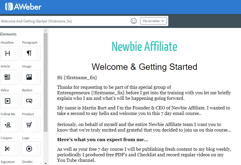 email template built in AWeber