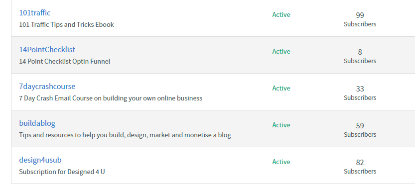 multiple email lists in Aweber