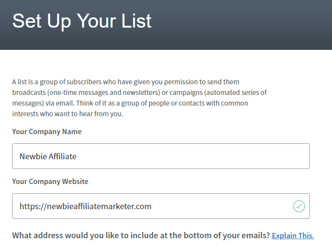 setting up your email list in aweber