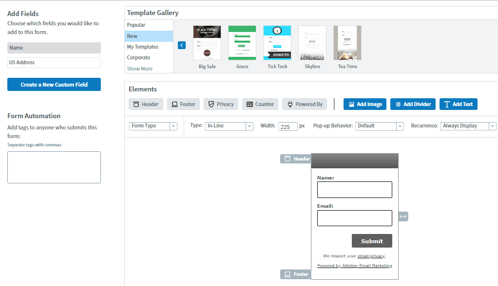sign up form design in Aweber