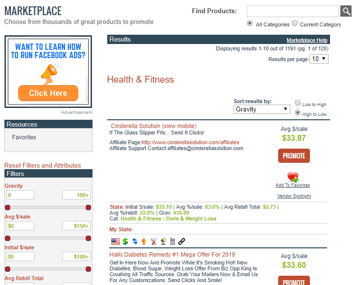 marketplace in clickbank