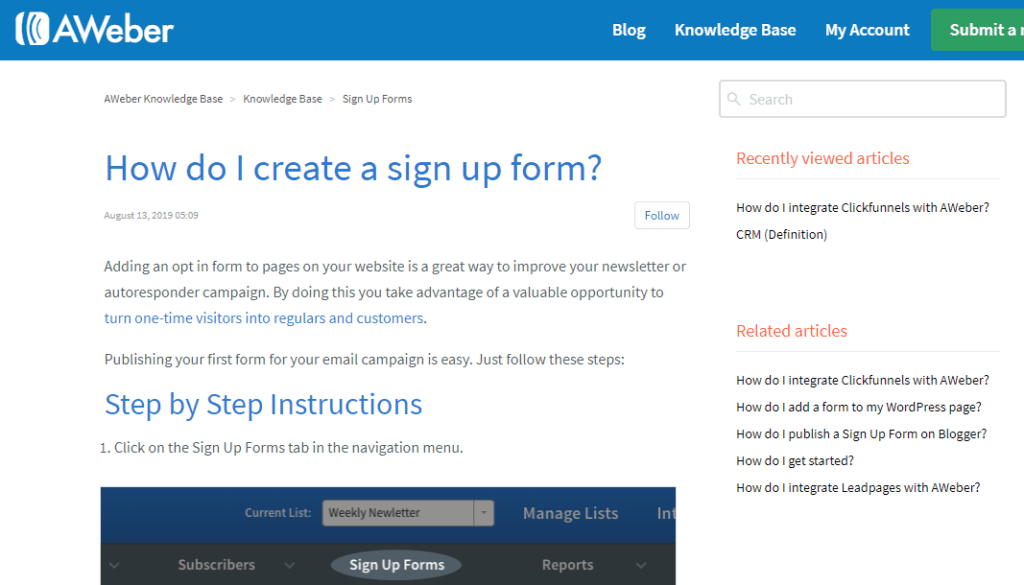 aweber knowledge base