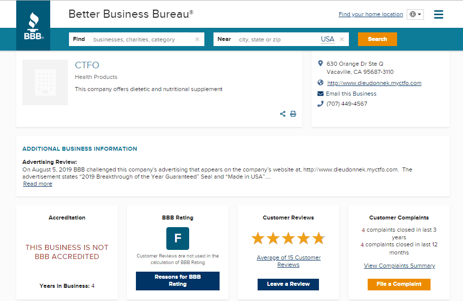better business bureau CTFO