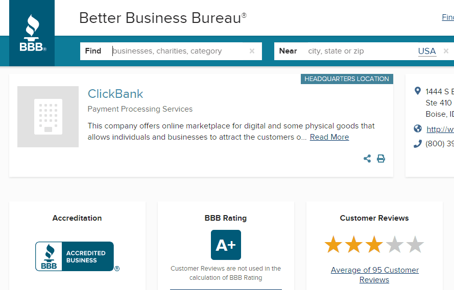 clickbank better business bureau