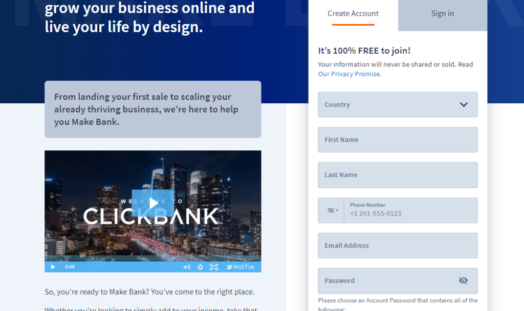 create clickbank account