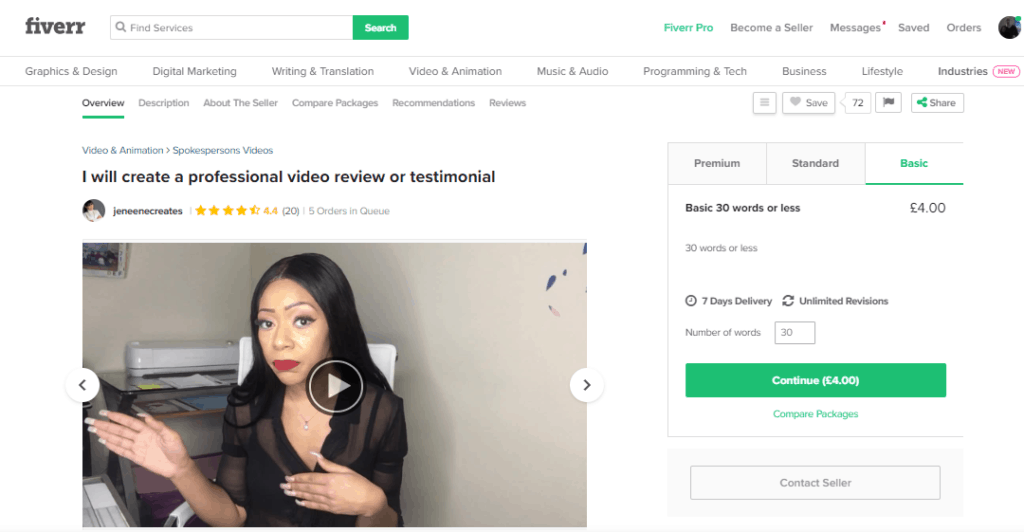 video review on fiverr