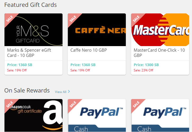 featured gifts card in swagbucks