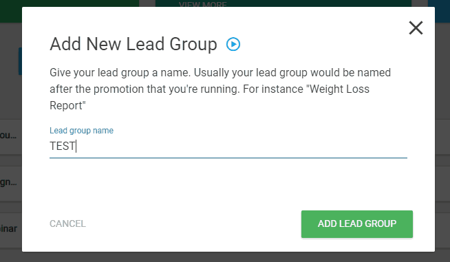 lead group name in thrive leads