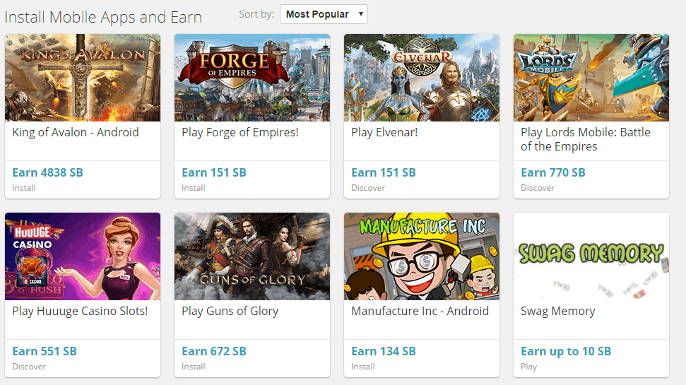 mobile apps and games in swagbucks
