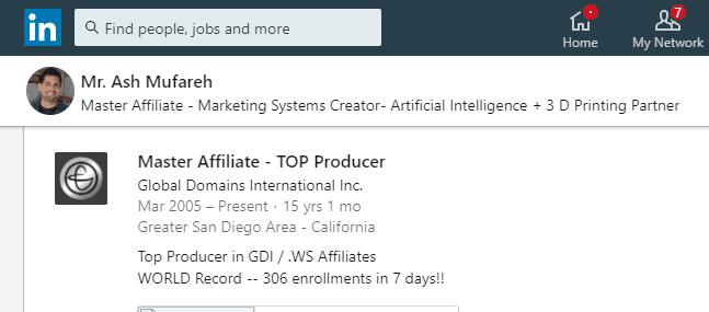 ash mufareh linkedin profile world record