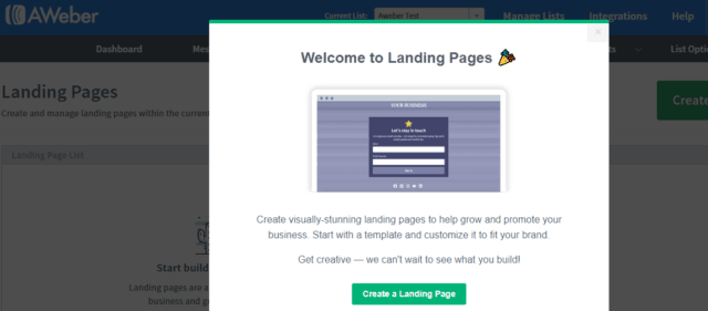 create a landing page in aweber