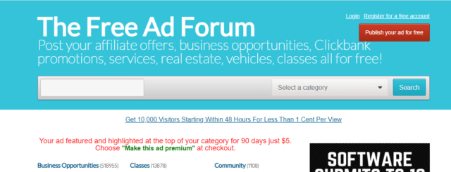 free ad forum home page