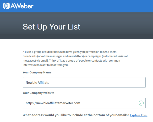 set up your list in AWeber
