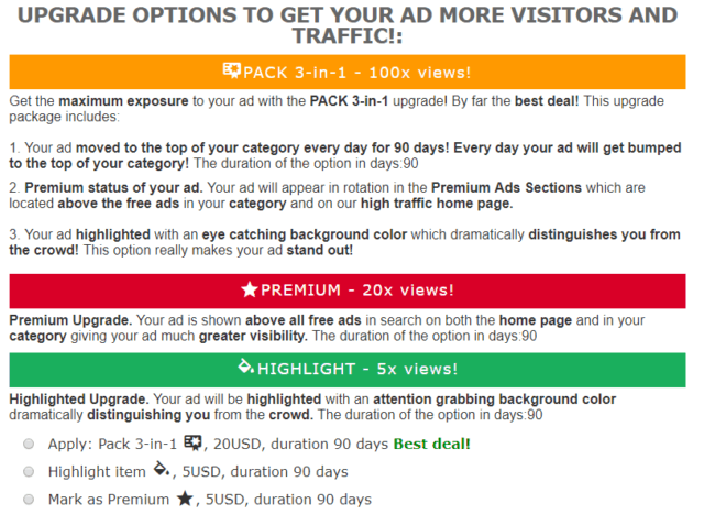 upgrade options for free ad forum