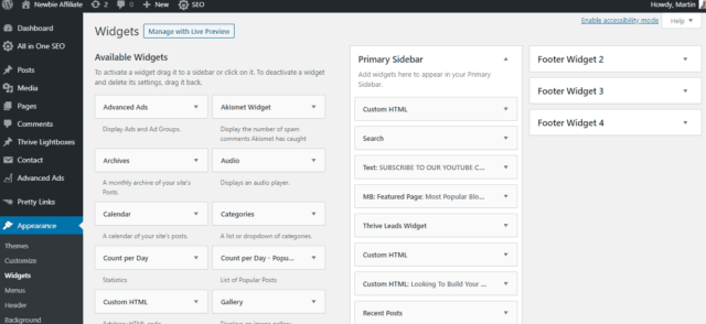 widget section in wordpress