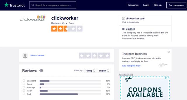 clickworker trustpilot review
